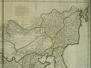 "Khalkha Mongols - ""The Country of the Khalkha"" (Pays des Kalkas) on a 1734 map by d'Anville, based on Jesuits' fieldwork ca. 1700"