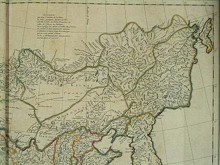 Northeastern part of the map of China and Chinese Tartary (1735; based on the expedition of 1709), with Ninguta shown within Jilin Province CEM-44-La-Chine-la-Tartarie-Chinoise-et-le-Thibet-1734-NE-2571.jpg