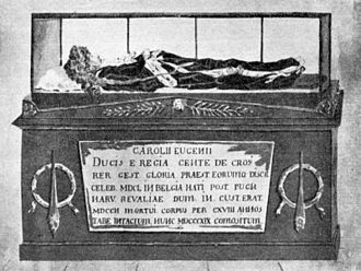 St. Nicholas' Church, Tallinn - 19th-century drawing of Charles Eugène de Croÿ's mummy