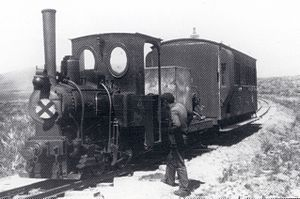 CGR NG 0-4-0T - CGR 0-4-0T with a makeshift water tender and coach