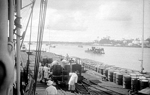 Oil tanker - A Royal Dutch Petroleum dock in the Dutch East Indies (now Indonesia)