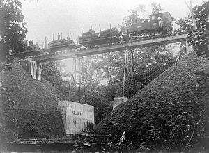 Cepu Forest Railway - Historic photograph of the bridge between Cepu and Gubug Payung, 1937