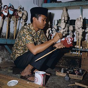The making of wayang golek puppets
