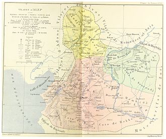 Hananu Revolt - Map of the Aleppo Vilayet, an Ottoman province of which Aleppo was the administrative capital. The province's territory was later divided between Syria and Turkey