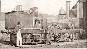 Colne Valley and Halstead Railway - A mid Victorian era photograph showing a Colne Valley and Halstead Railway 2-2-2WT at Halstead engine shed.