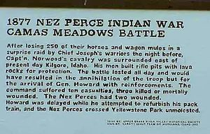 Battle of Camas Creek - Plaque at the Battlefield site.