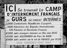 Memorial plaque at Camp Gurs to al who were detained there