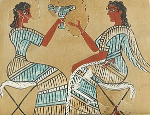 "Minoan civilization - The partially-restored ""campstool frescoe"" from Knossos"