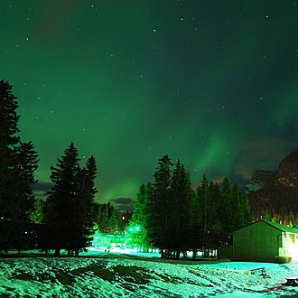 Banff, Alberta - Northern lights over Banff