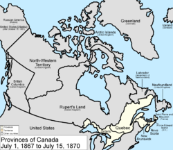 Map of the Dominion of Canada on July 1, 1867, showing the nation's provinces of Ontario (southern portion only), Quebec (southern portion only), New Brunswick and Nova Scotia in the colour white