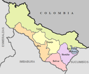 Carchi Province - Image: Cantones de Carchi