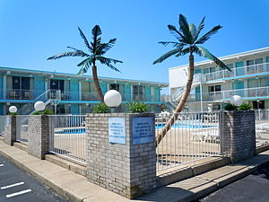 Wildwoods Shore Resort Historic District - Plastic palm trees at the Caprice in Wildwood