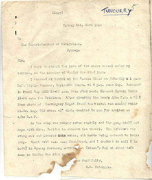 Tuncurry (1903) - Captain Hutchins Marine Court Enquiry Evidence into the sinking of the Tuncurry (1903)