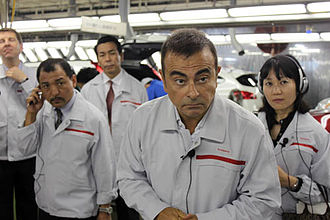 Carlos Ghosn - Carlos Ghosn answers reporters' questions at the Nissan factory in Kyushu, Japan. (September 2011)
