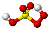 Ball and stick model of peroxymonosulfuric acid