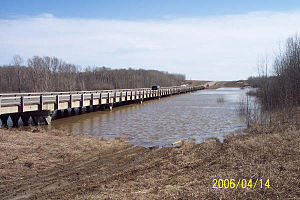 Carrot River - Highway 23 bridge over the Carrot River during the 2006 flood near the town of Carrot River
