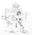 Cartmel Priory from the North West - sketch by E. G. Paley, 1843.png