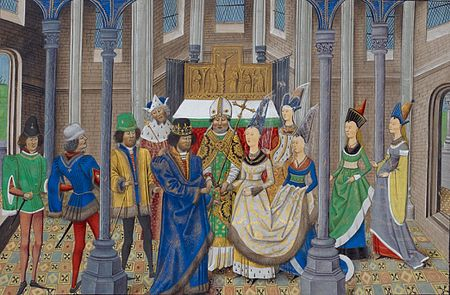 Marriage of John I, King of Portugal and Philippa of Lancaster, daughter of John of Gaunt, 1st Duke of Lancaster. (Wikipedia)