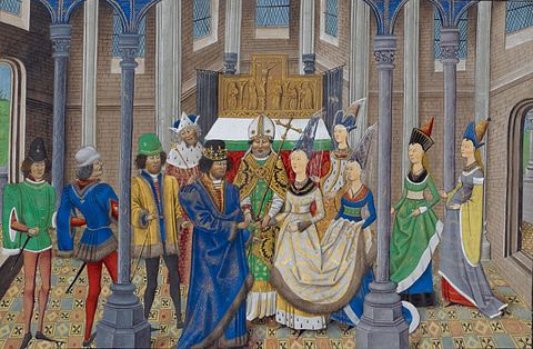The wedding of Joao I of Portugal, 11 February 1387 with Philippa of Lancaster, by fifteenth century painter and manuscript illuminator Master of Wavrin, from around Lille, now in France. Casamento Joao I e Filipa Lencastre.JPG
