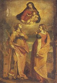 Castello il bergamasco La virgen se aparece a las santas Catalina y Apolonia.jpg
