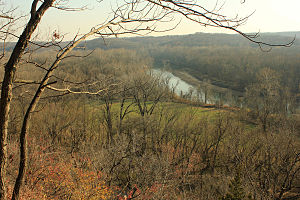 Castlewood State Park - View from bluff of river, meadow, and forest in Castlewood State Park