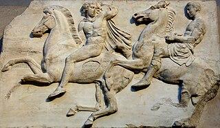 Parthenon Frieze sculpture in Parthenon, in Athens Acropolis