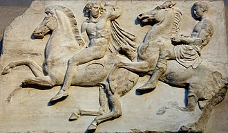 Parthenon Frieze - Cavalry from the Parthenon Frieze, West II, 2–3, British Museum