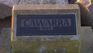 SS Cawarra - Plaque on Stockton breakwall commemorating the Cawarra