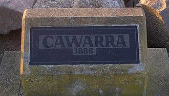SS Cawarra - Plaque on Stockton breakwall commemorating the Cawarra