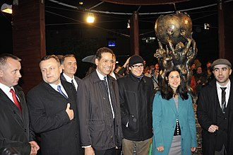 Wikipedia Monument - Image: Celebration of the Wikipedia monument in Słubice – unveiling (Der Hexer) 18