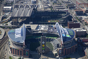 CenturyLink Field - The roofs of CenturyLink Field and Safeco Field