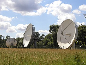Chalfont St Peter - The Chalfont Grove Teleport has a number of large uplink satellite dishes