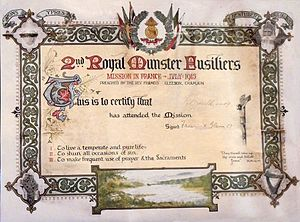 Royal Munster Fusiliers - Certifying attendance at Father Gleeson's Mission 1915