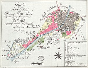 Great Fire of Turku - Map of Åbo after the 1827 fire. Destroyed areas are in grey, surviving areas in red. The red blocks to the South East are now the Luostarinmäki museum