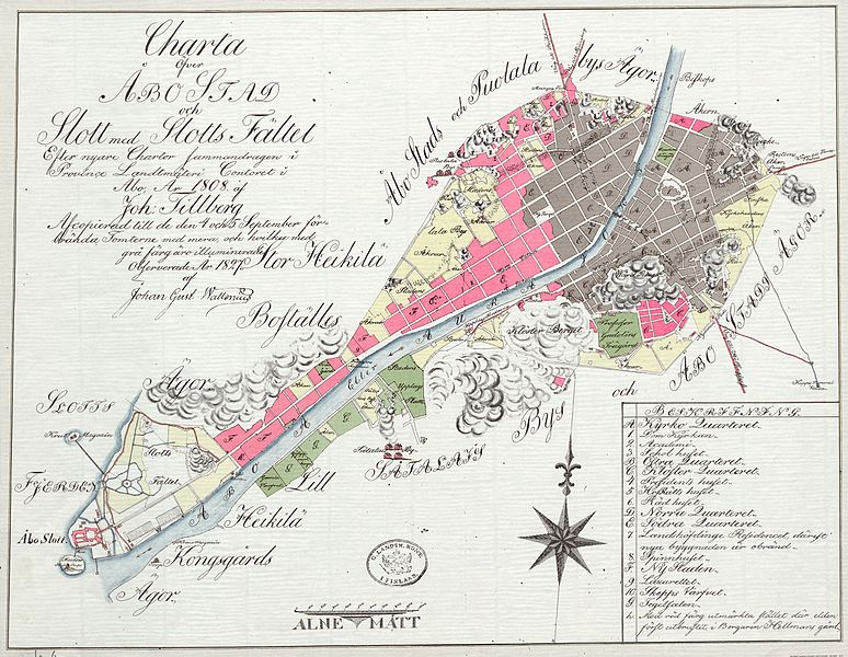 Map of Åbo after the 1827 fire. Destroyed areas are in grey, surviving areas in red. The red blocks to the South East are now the Luostarinmäki museum.