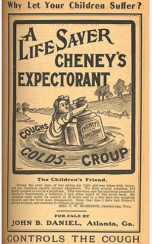 """Family in advertising - An advertisement for Cheney's Expectorant, 1906, asking the consumer """"Why Let Your Children Suffer?"""""""