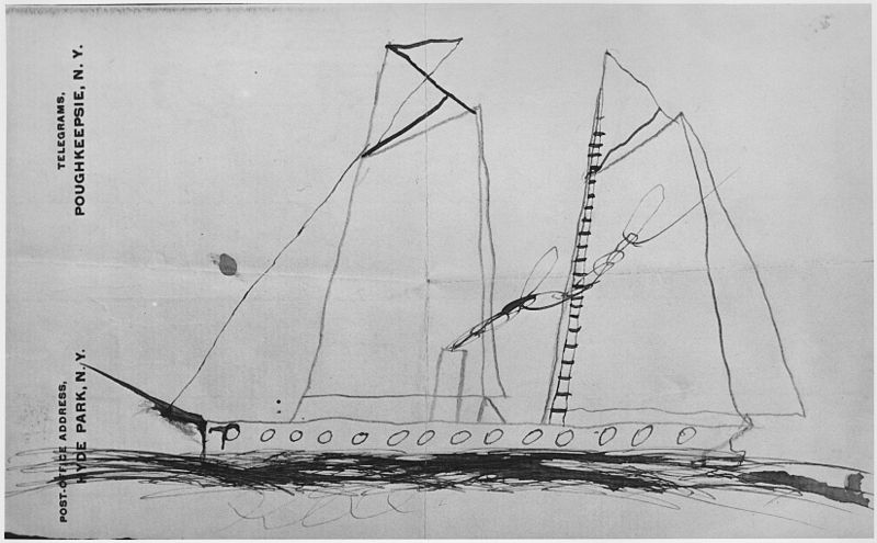 File:Childhood Drawing of a Sailing Ship by Franklin D. Roosevelt - NARA - 198134.jpg