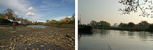 Chiswick Eyot - Channel between Chiswick Eyot and Chiswick Mall on the River Thames London, looking downstream at low tide (left) and high tide (right)