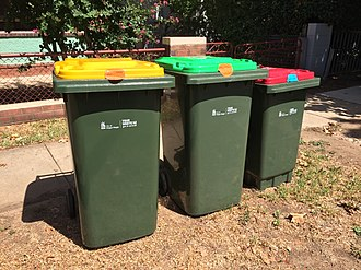Recycling in Australia - Yellow-lidded recycling bin, green-lidded greenwaste bin, and red-lidded general waste bin for a household in Wagga Wagga.