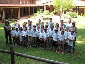 "Haw River State Park - ""Junior Ranger"" class in front of the Summit Center"
