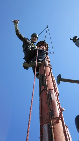 Kentucky Educational Television - Climbing the analog antenna of WKAS's tower in Ashland.