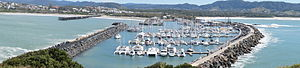 Coffs Harbour - Panoramic view of the Coffs Harbour marina, NSW Australia, from Muttonbird Island
