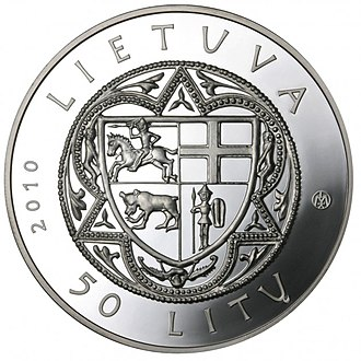 Commemorative coins of Lithuania - Image: Coin commemorating the 600th anniversary of the Žalgiris Battle Aversum (2)