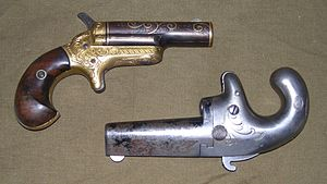 Derringer - Colt Deringers, at right 1st Model (1870–1890), at left 3rd Model (1875–1912), all .41 rimfire