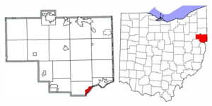 Location of Wellsville in Columbiana County and in the State of Ohio