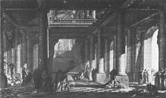 Charles de Wailly - Comédie-Française (Odéon), long section and view of the vestibule, based on the second (1770) project