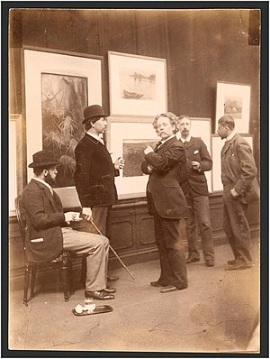 Willink van Collenprijs - Committee for art exhibits in 1893, showing from left to right Geo Poggenbeek, Nicolaas Bastert, F. M. Heyl, Hein Kever and George Hendrik Breitner
