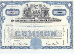 New York, New Haven and Hartford Railroad - Common stock issued in 1967
