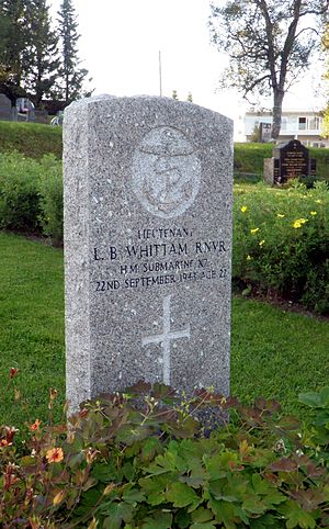 Operation Source - The grave of Lieutenant Lionel Barnett Whittam at the Commonwealth War Graves section of Tromsø's main cemetery