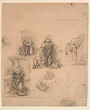 Compositional Sketches for the Virgin Adoring the Christ Child, with and without the Infant St. John the Baptist; Diagram of a Perspectival Projection (recto); Slight Doodles (verso) MET DP136369.jpg